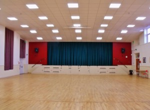 Main Hall looking towards stage with new ceiling & dimmable lights 2